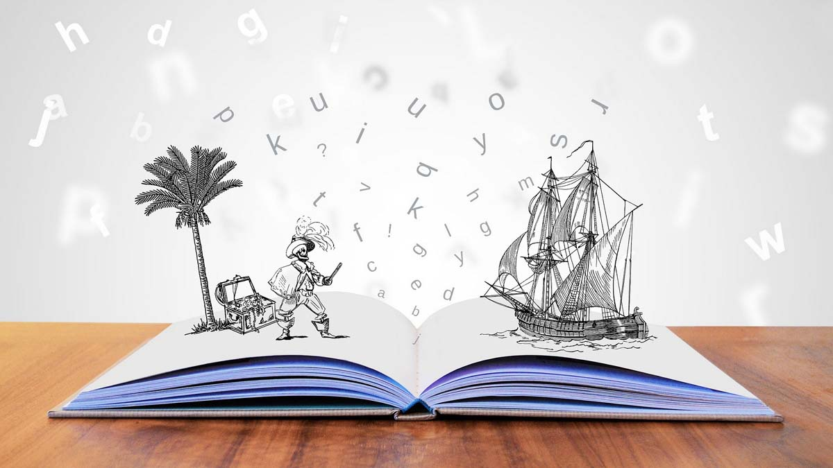 book with a pirate and ship